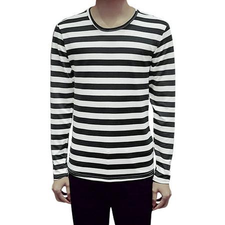 Men's Long Sleeves Round Neck Stripes Casual T-Shirt Black M ()