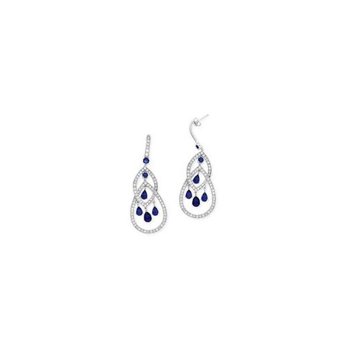 CZ EAR675-S Platinum Plated C. Z.  Diamond Sapphire Geometric Dangling Earrings