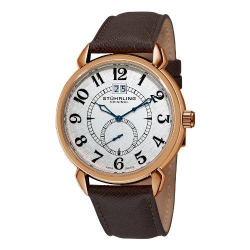 Stuhrling Original Men's 50E.3345K2 Eternity Swiss Quartz Date Brown Watch