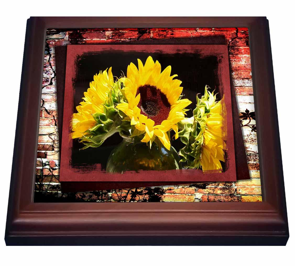 3dRose Bursting Sunflowers, Trivet with Ceramic Tile, 8 by 8-inch