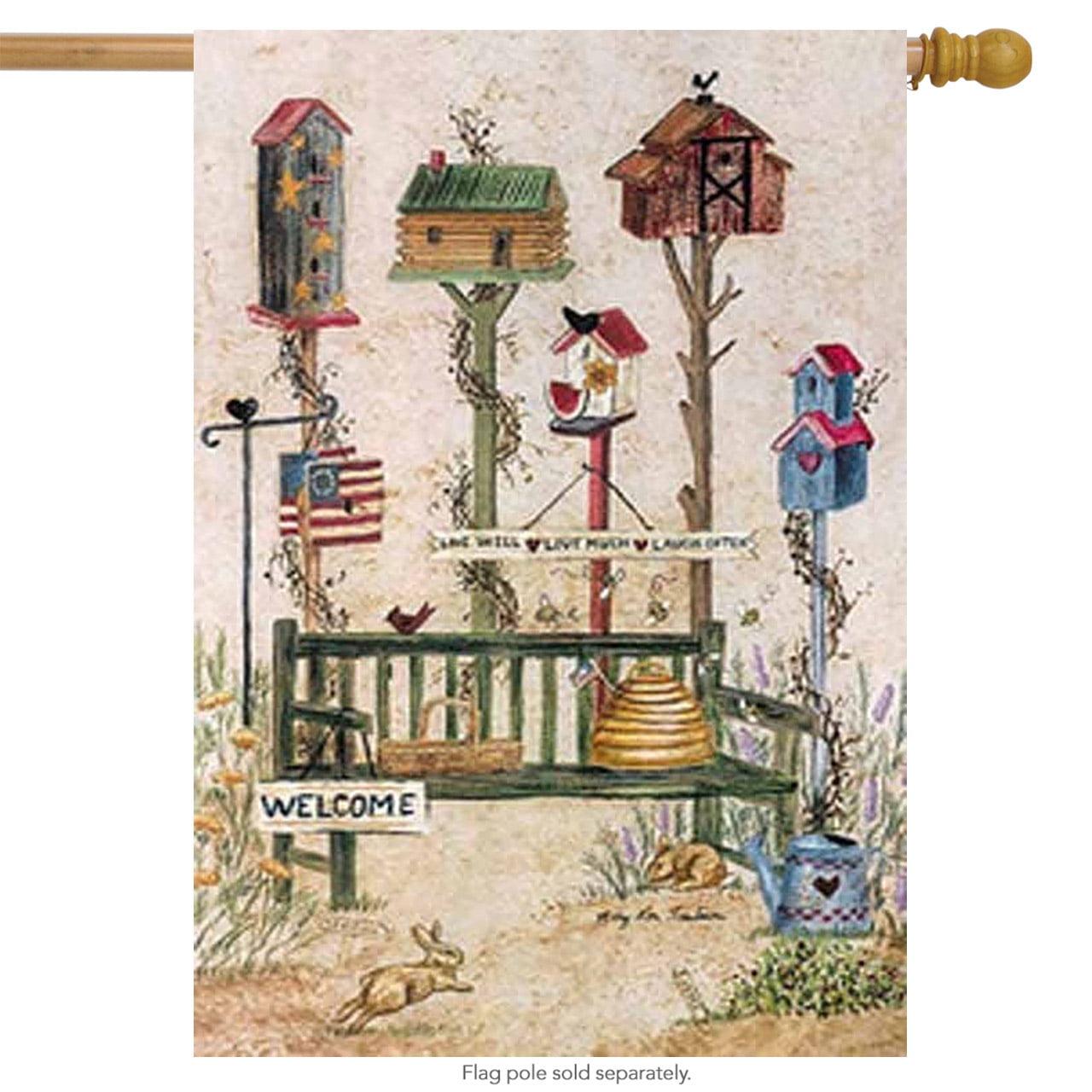 """Folk Birdhouse Decorative House Flag by Custom Decor 28"""" x 40"""" Primitive by"""