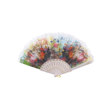 Unique Bargains Dance Party Wedding Lace Rim Spanish Style Hand Fan Decorative Design White