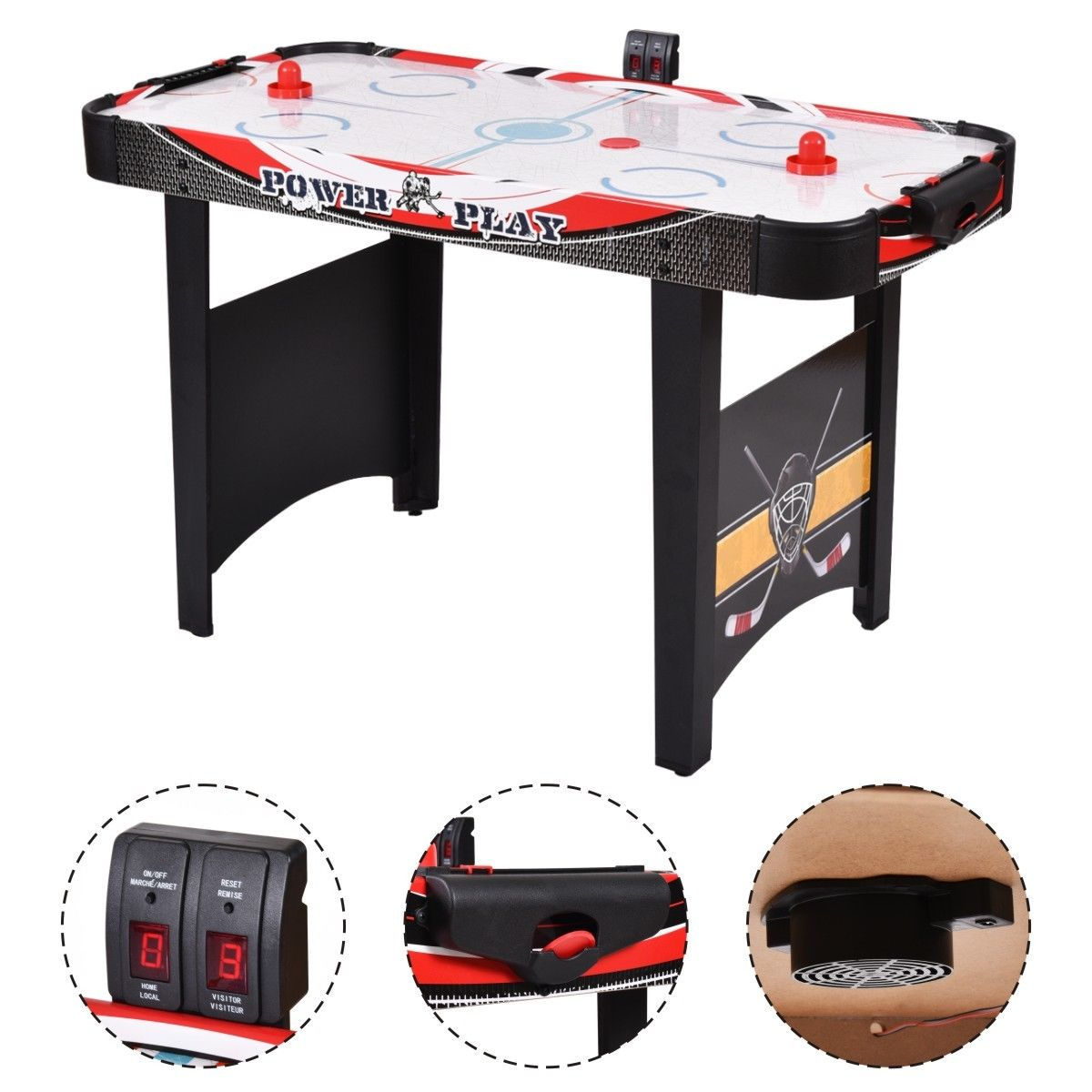 Costway 48u0027u0027Air Powered Hockey Table Indoor Sports Game Electronic Scoring  Red Puck Kids