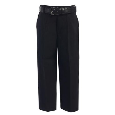 Best Dress Pants (Boys Black Flat Front Solid Belt Special Occasion Dress Pants 8-20 )
