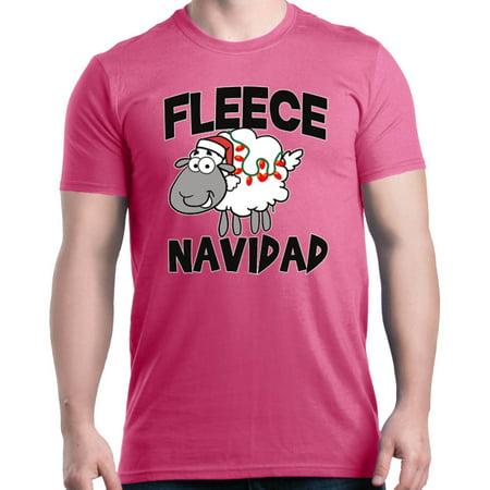Shop4Ever Men's Fleece Navidad Christmas Funny Ugly Xmas Graphic T-shirt (Fleece Navidad Shirt)