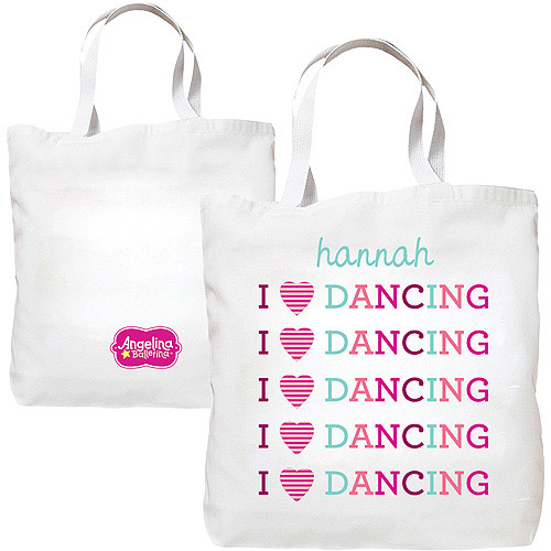 Personalized Angelina Ballerina I Love Dancing Tote Bag