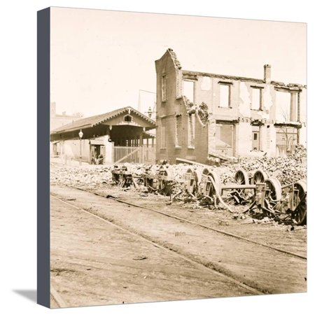 Richmond, Va. Wheels and burned railroad cars near Richmond & Petersburg Railroad station Stretched Canvas Print Wall Art ()