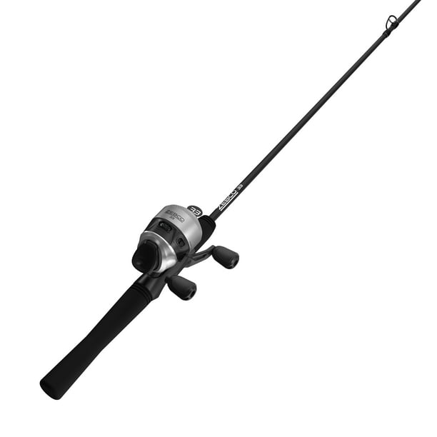 Zebco 33 Spincast Reel and Fishing Rod Combo, 6-Foot 2-Piece Rod, Silver/Black