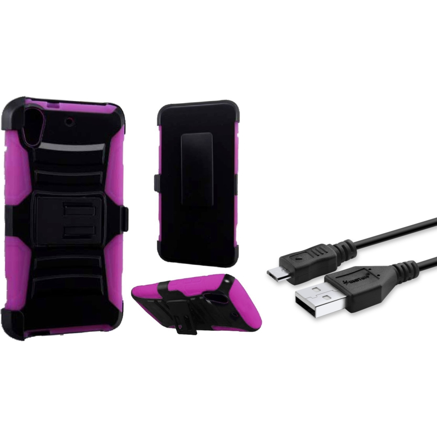 Insten Hard Dual Case w/Holster For HTC Desire 626/626s - Black/Pink (+ USB Cable)