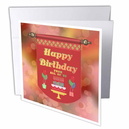 Greeting Card Gift Set - 3dRose Happy Birthday Banner, From All of Us, Cake with Gifts and Balloons, Greeting Cards, 6 x 6 inches, set of 12