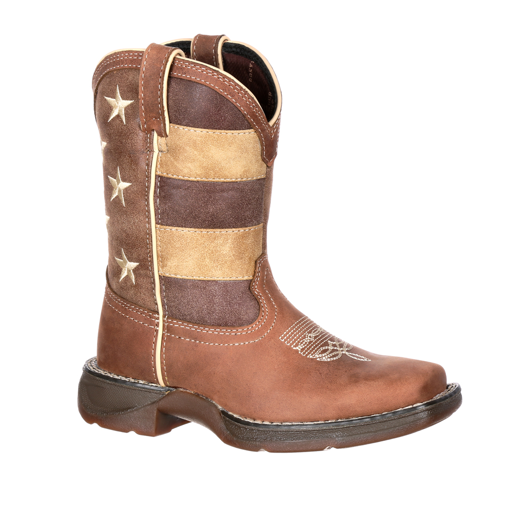 Durango Kid's Faded Glory Flag Western Boots Brown Leather 4.5 Big Kid M by Durango