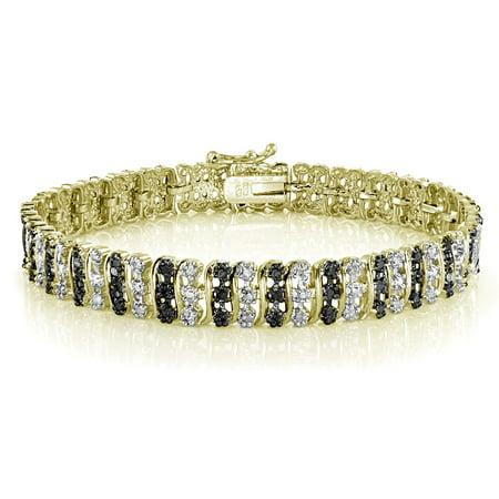 - DB Designs  1.00ct TDW Black or Blue Diamond S Tennis Bracelet Gold Yellow Black