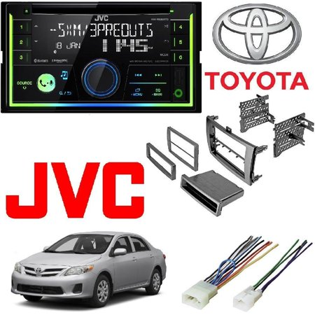JVC KW-R930BTS 2-Din In-Dash Car Stereo CD Player w/Bluetooth/USB/iPhone/Sirius Car Radio Stereo Single 2Din Grey Dash Kit Harness for 2009-2013 Toyota Corolla