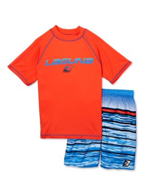 Laguna Boys 8-14 Short Sleeve Rashguard Swim Shirt and Trunks, 2-Piece Set, Sizes 8-14, UPF 50+