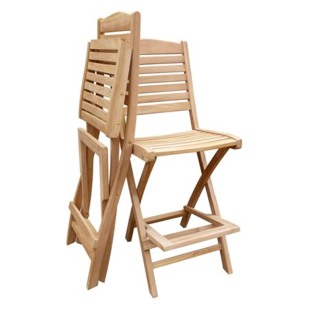 seven seas teak slat back folding bar stool with footrest. Black Bedroom Furniture Sets. Home Design Ideas