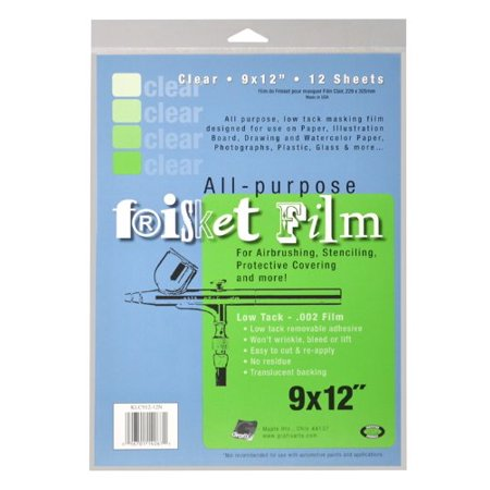 All Purpose Low Tack Frisket Film 9-Inch-by-12-Inch, Clear Pack of 12, Repositionable adhesive on polypropylene base, easy to apply and remove By Grafix