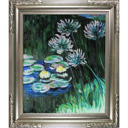 Lilies Oil Painting - Tori Home 'Water Lilies and Agapanthus' Oil Painting Print on Canvas