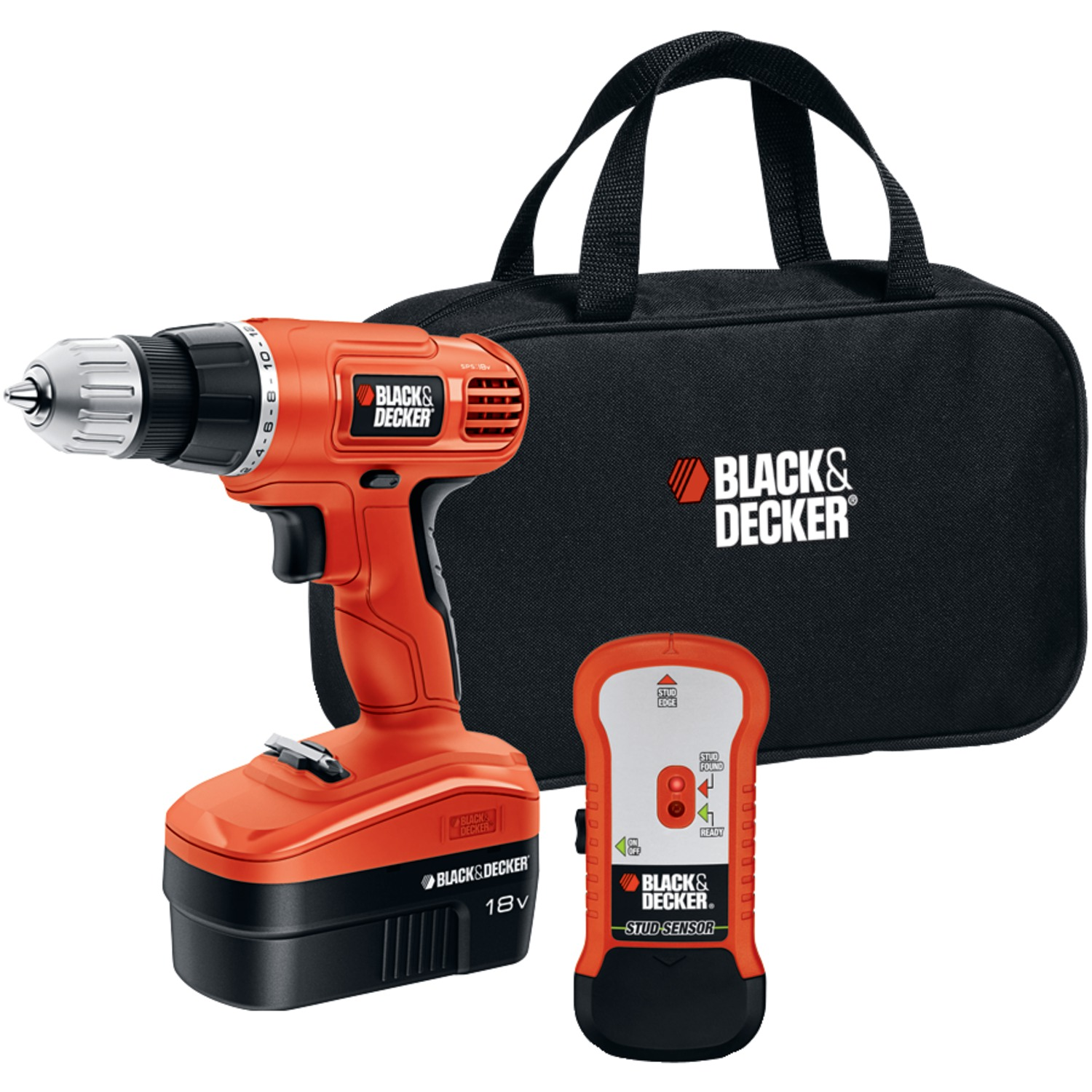 BLACK+DECKER™ GCO18SFB 18V NiCAD Cordless Drill + Stud Finder & Bag