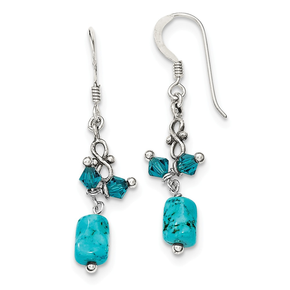 Sterling Silver 1.6IN Long Turquoise & Blue Crystal Antiqued Earrings