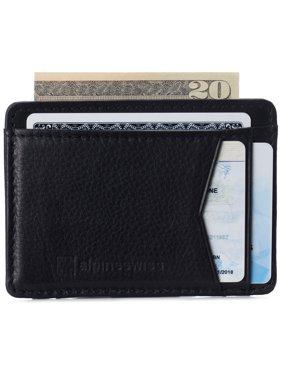 Alpine Swiss Men RFID Safe Minimalist Front Pocket Wallet Leather Thin Card Case