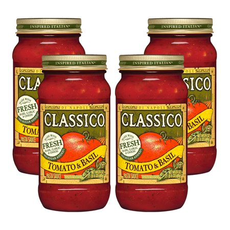 (4 Pack) Classico Tomato and Basil Pasta Sauce, 24 oz