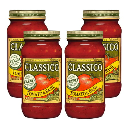 (4 Pack) Classico Tomato and Basil Pasta Sauce, 24 oz Jar