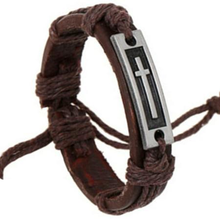 Leather Pull String Christian Cross Religious Brown Cross in Set Bracelet. J-470-C