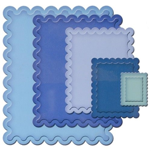 Spellbinders S4-131 Nestabilities Small Classic Scalloped Rectangles Die Template Multi-Colored