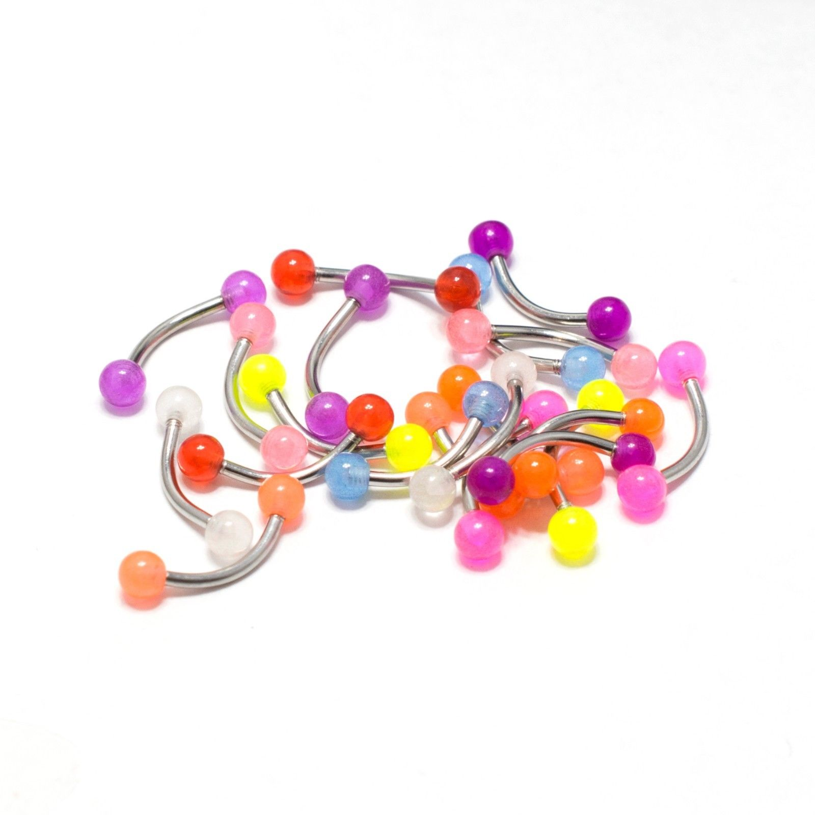 Eyebrow Rings Piercing Curved Barbell 20 Pack Glow In The Dark Tragus Rook 16G