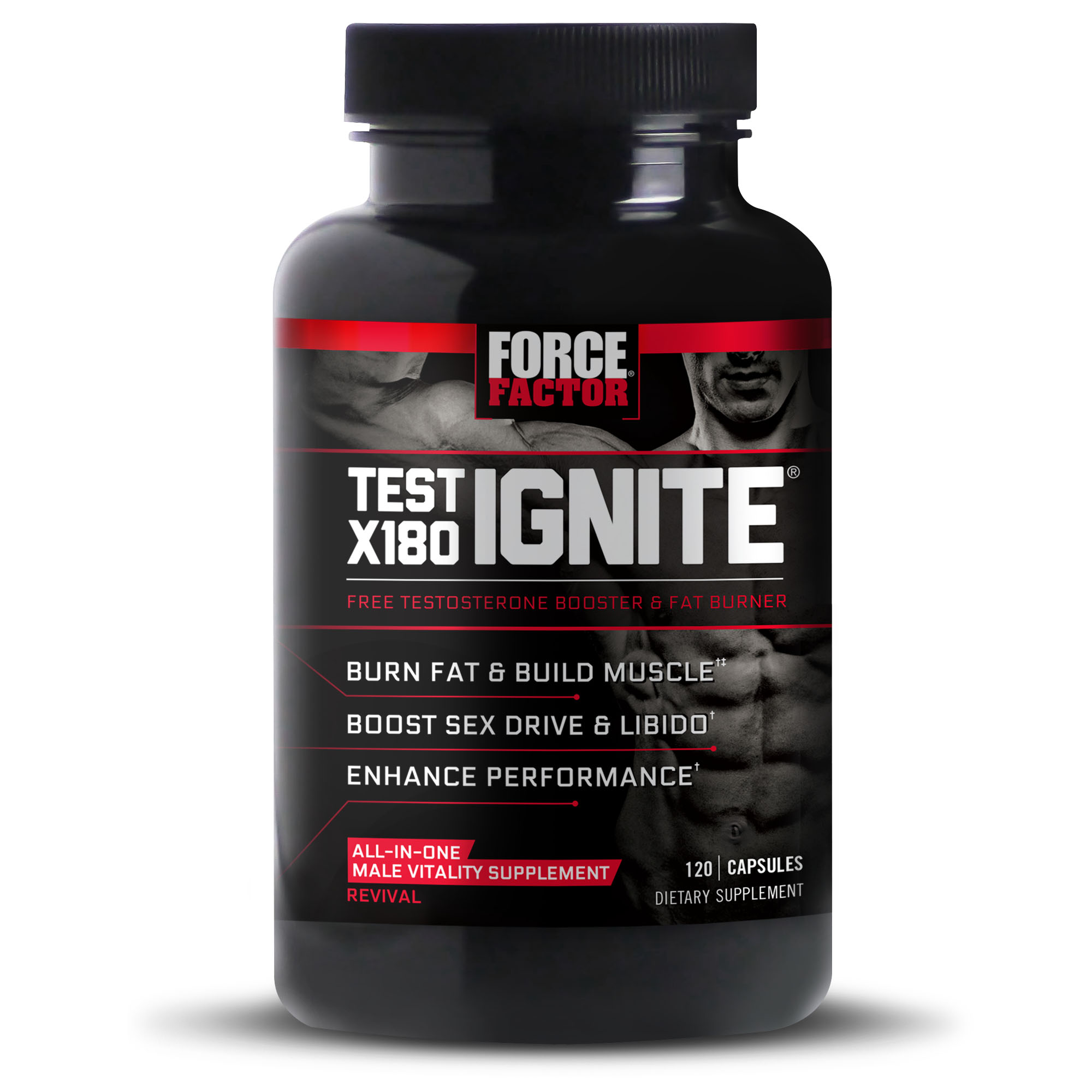 Force Factor Test X180 Ignite Test Booster Capsules, 120 Ct