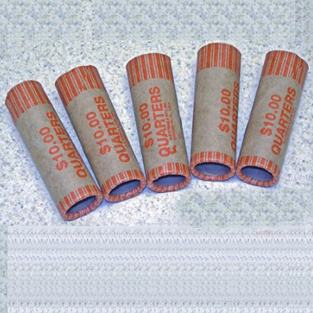 Quarter Coin Tubes - 72 Rolls Preformed Coin Wrappers Paper Tubes For Quarters NF String Holds $10 Ea