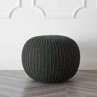 Urban Shop Round Knit Pouf, Black