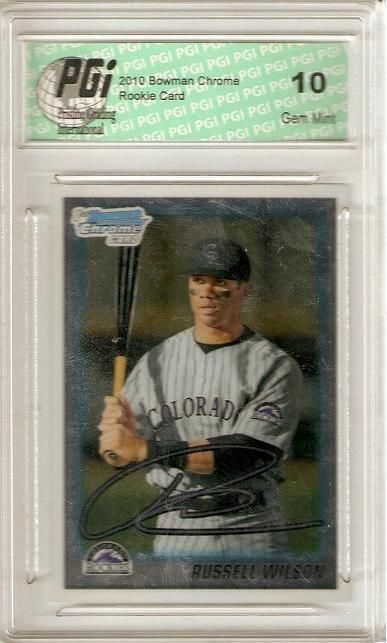 Click here to buy Russell Wilson 2010 1st Bowman Chrome Rookie Card #BDPP47 PGI 10 Seahawks by PGI.