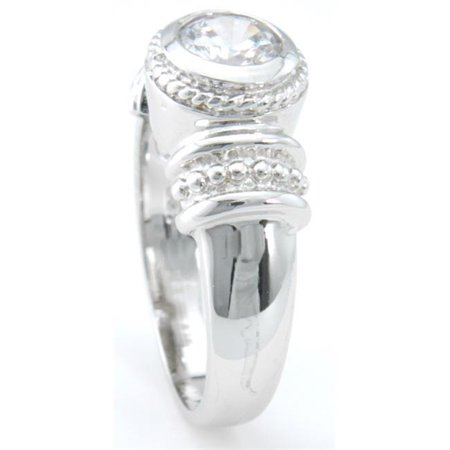 - 925 Sterling Silver Platinum Finish Antique Style Solitaire Engagement Ring Size 5