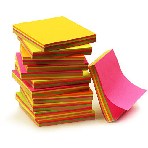 Super Sticky Notes 3 x 3 Inch - 12 Pads/Pack, 100 Sheets/Pad - 1200 Sheets! Assorted Bright Colors, Notes For All Occasions!