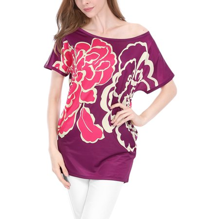 Unique Bargains Women's Flower Print Scoop Neck Batwing Sleeves Loose Tunic Top