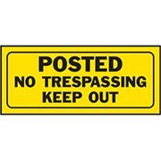 HY-KO 23004 Fence Sign, Rectangular, POSTED NO TRESPASSING KEEP OUT, Black Legend, Yellow Background 5 Pack