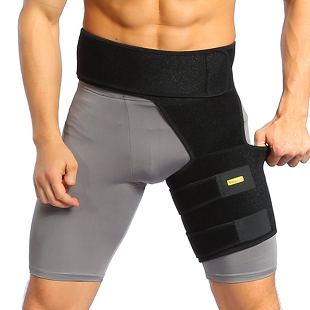 Yosoo Adjustable Neoprene Groin Support - Groin Strain Pain Wrap Compression Recovery Thigh Wrap Provide Pulled Groin Quad Hamstring Hip Injury & Sciatica Support for Men &Women