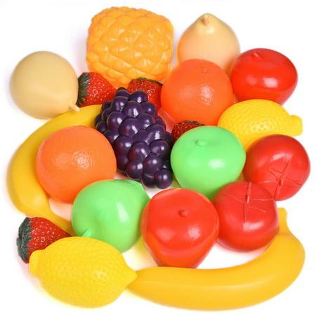 Plastic Food For Kids - Fruit Toys Kitchen Food Pretend Play Set for Kids Learning Educational Gift (Fresh Pineapple, Peach, Pear, Cherry, Strawberry, Lemon, Lime, Grapes, Banana, Apple) 22 PCs F-134