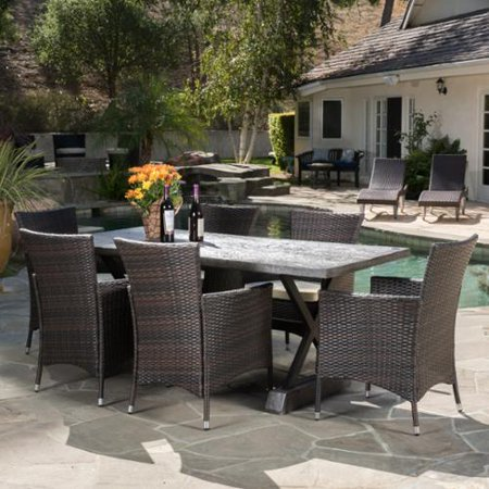 Morro Bay Outdoor 7 Piece Magnesium Oxide and Wicker Dining Set