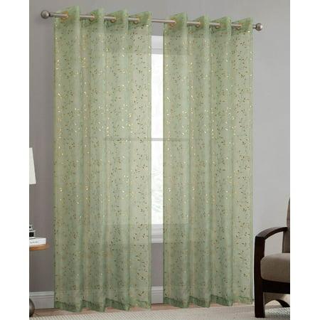 38 Inch Sage - Haven Metallic Leaf Vine Grommet Sheer Window Panel, Sage-Gold, 54x84 Inches