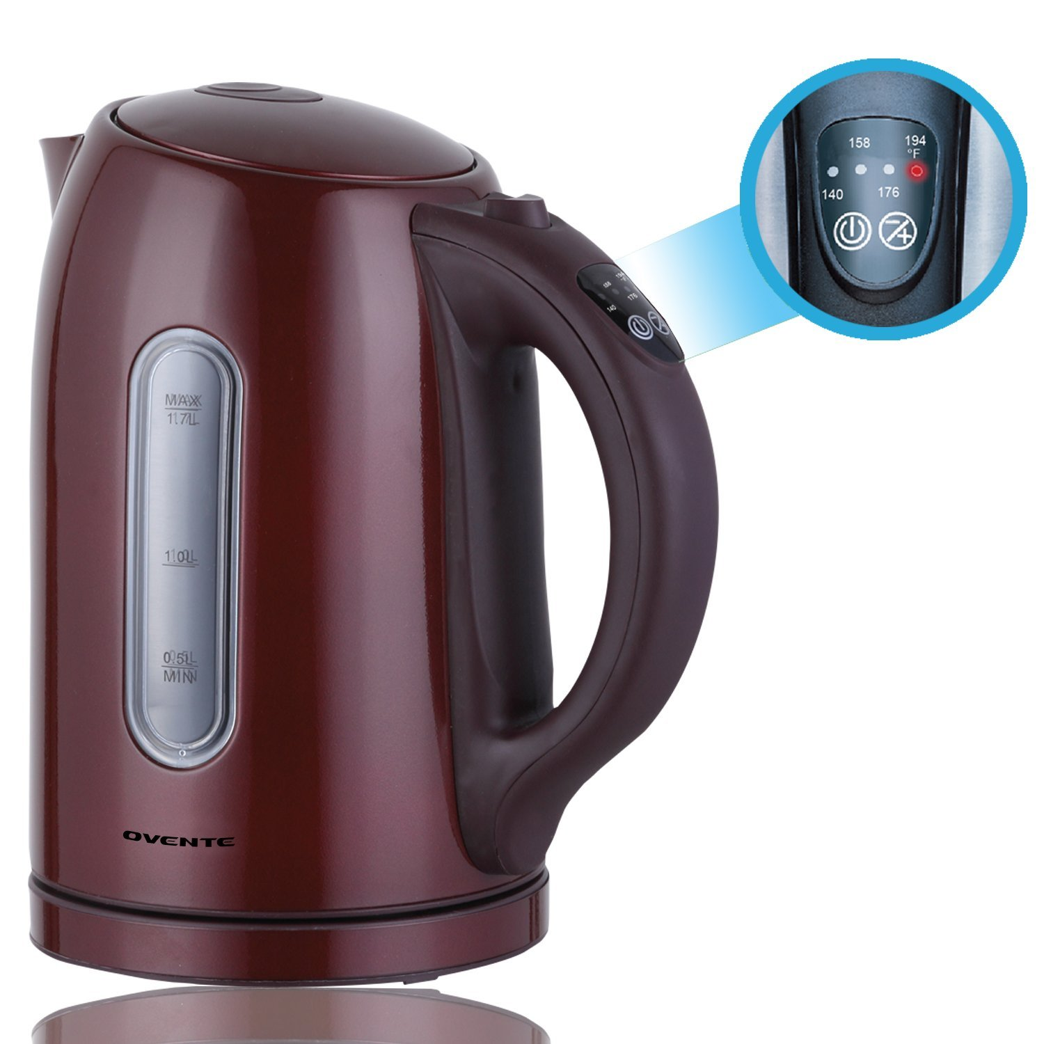 1.7 Liter Stainless Steel Electric Kettle with Temperature Control and Keep Warm, BPA Free (No Beep) By Ovente Ship from US