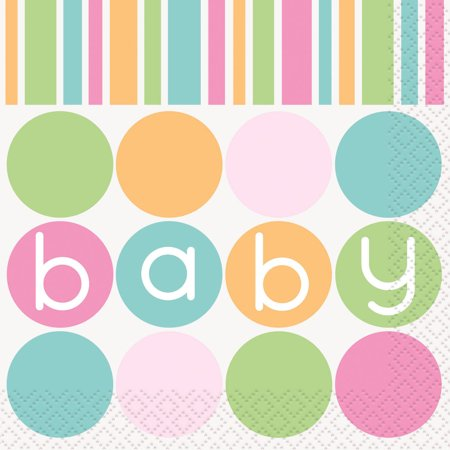 Pastel Baby Shower Cocktail Napkins, 5 in, - Pastel Baby Shower Niño