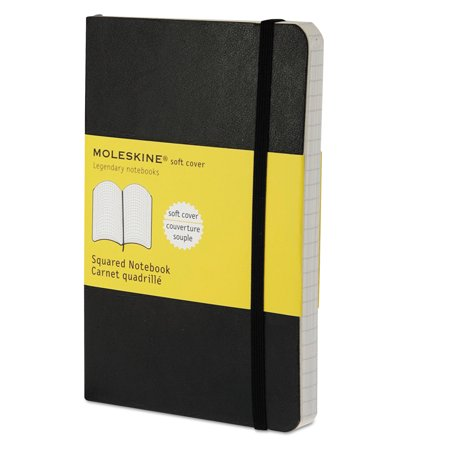 Classic Half Cover - Moleskine Classic Softcover Notebook, Squared, 5 1/2 x 3 1/2, Black Cover, 192 Sheets -HBGMS712
