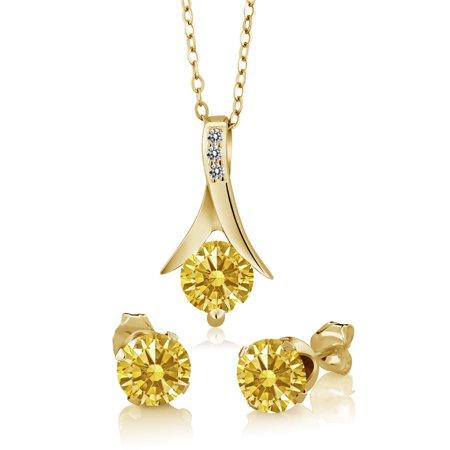 2 57Ct Goldenyellow 925 Yellow Gold Plated Silver Set Made W  Swarovski Zirconia