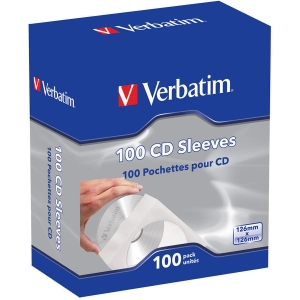 Verbatim 49976 CD/DVD Paper Sleeves with Clear Window, 100-Pack