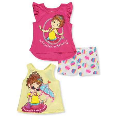 Disney Fancy Nancy Girls' 3-Piece Shorts Set Outfit - Kids Disney Outfits