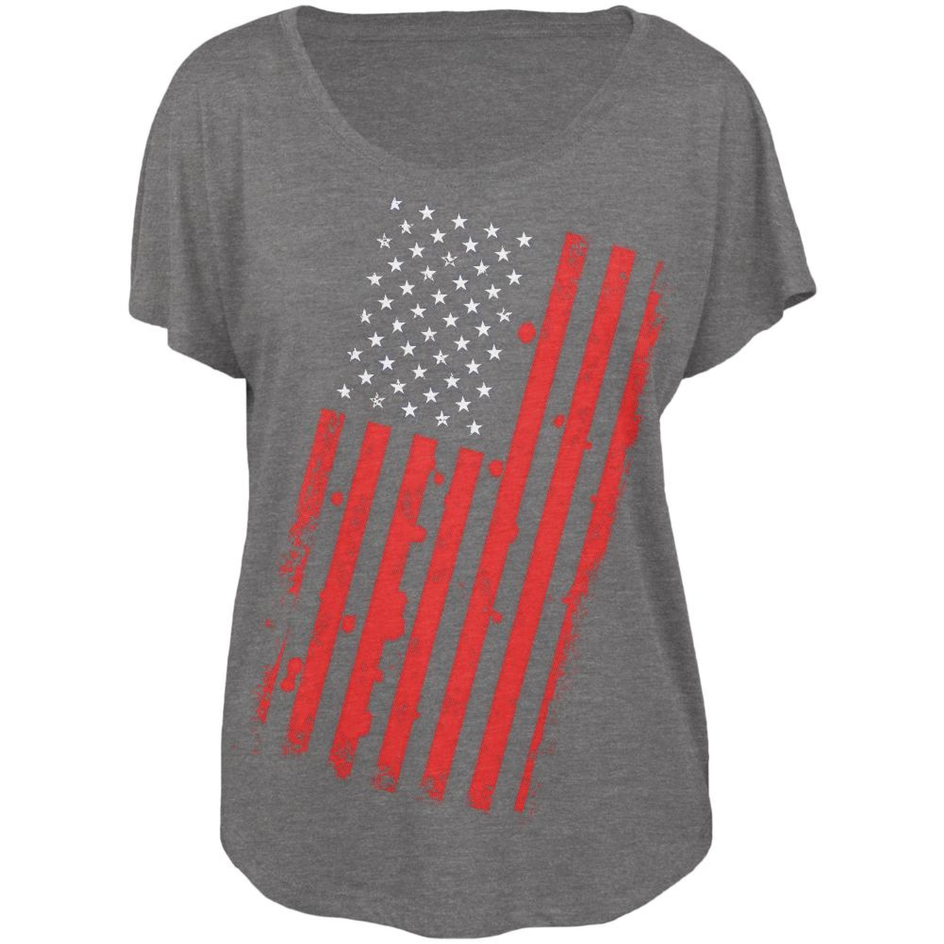4th of July Distressed Offset American Flag Juniors Dolman T Shirt