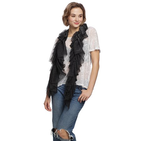 Womens Shiny Metallic Glitter Deisgn Ruffled Lightweight Oblong Fashion Scarf for Spring Summer Season