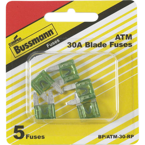 Cooper Bussman ATM 30A Blade Fuses, 5-Count
